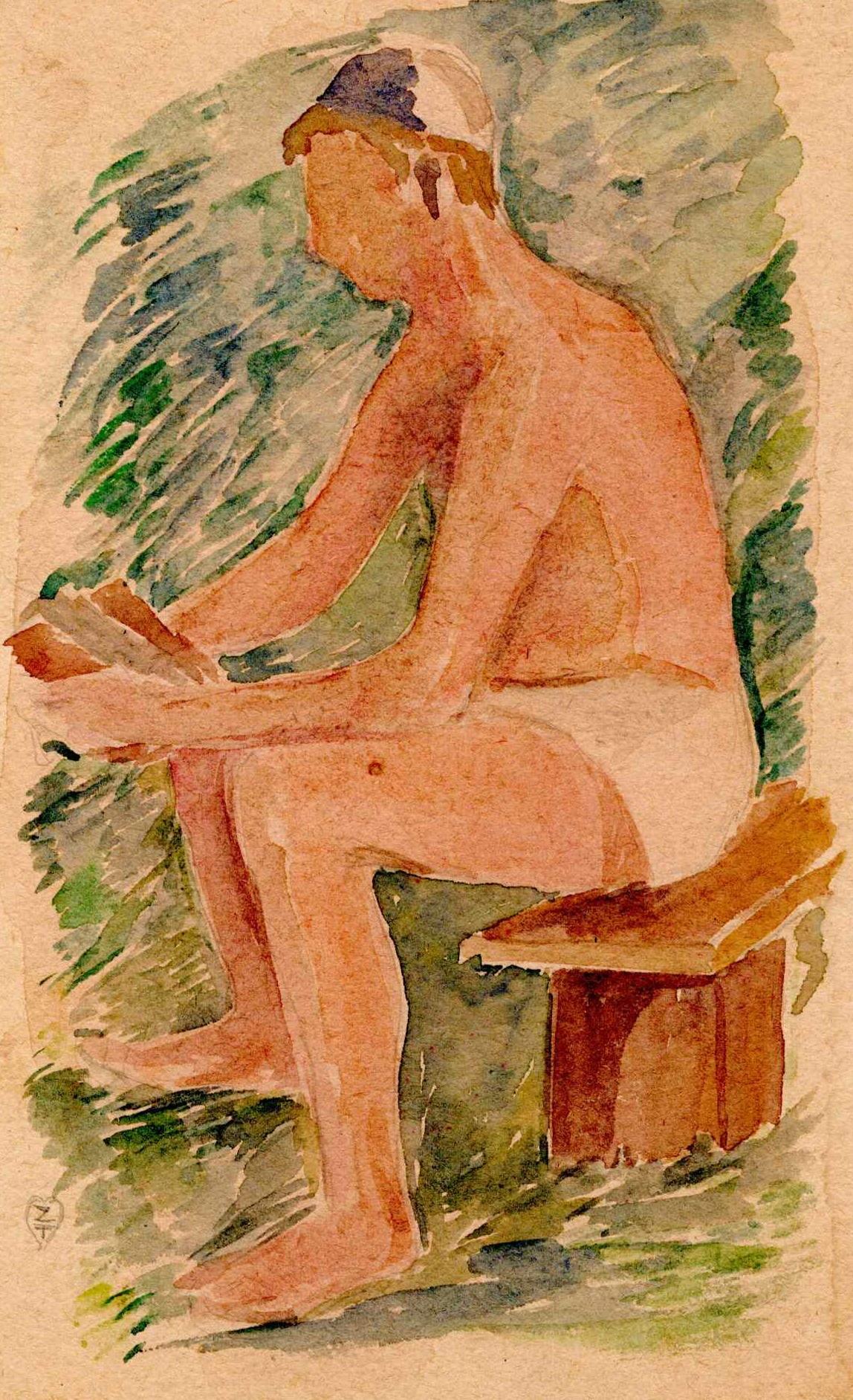 Praca Zygmunta Turkiewicza podtytułem Mężczyzna czytający. Przedstawia mężczyznę ubranego wyłącznie wmajtki lub krótkie spodenki iczapkę nagłowie, siedzącego naławce iczytajacego książkę. Akwarela, Obóz wGriazowcu, lipiec - sierpień 1941