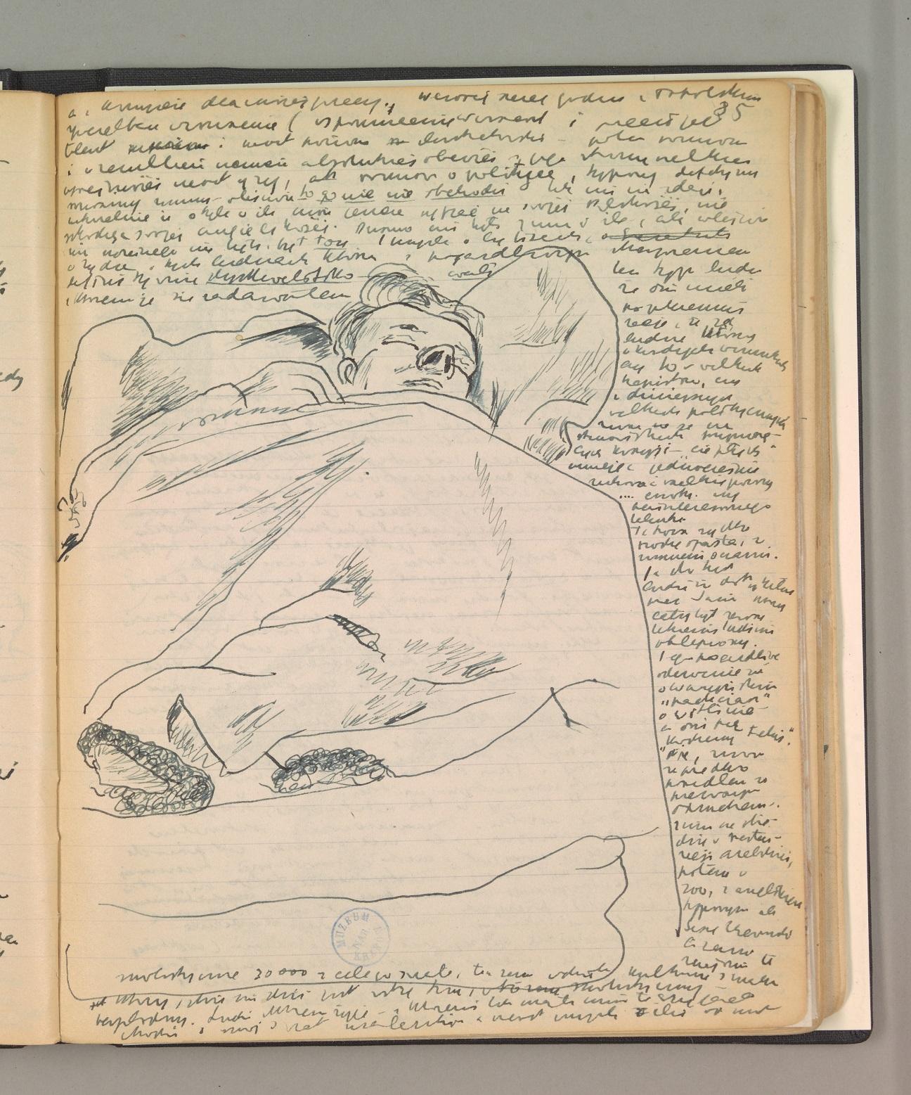 Zdjęcie strony dziennika Józefa Czapskiego - rysunek ołówkiem przedstawiający śpiącego podkocem mężczyznę napryczy..