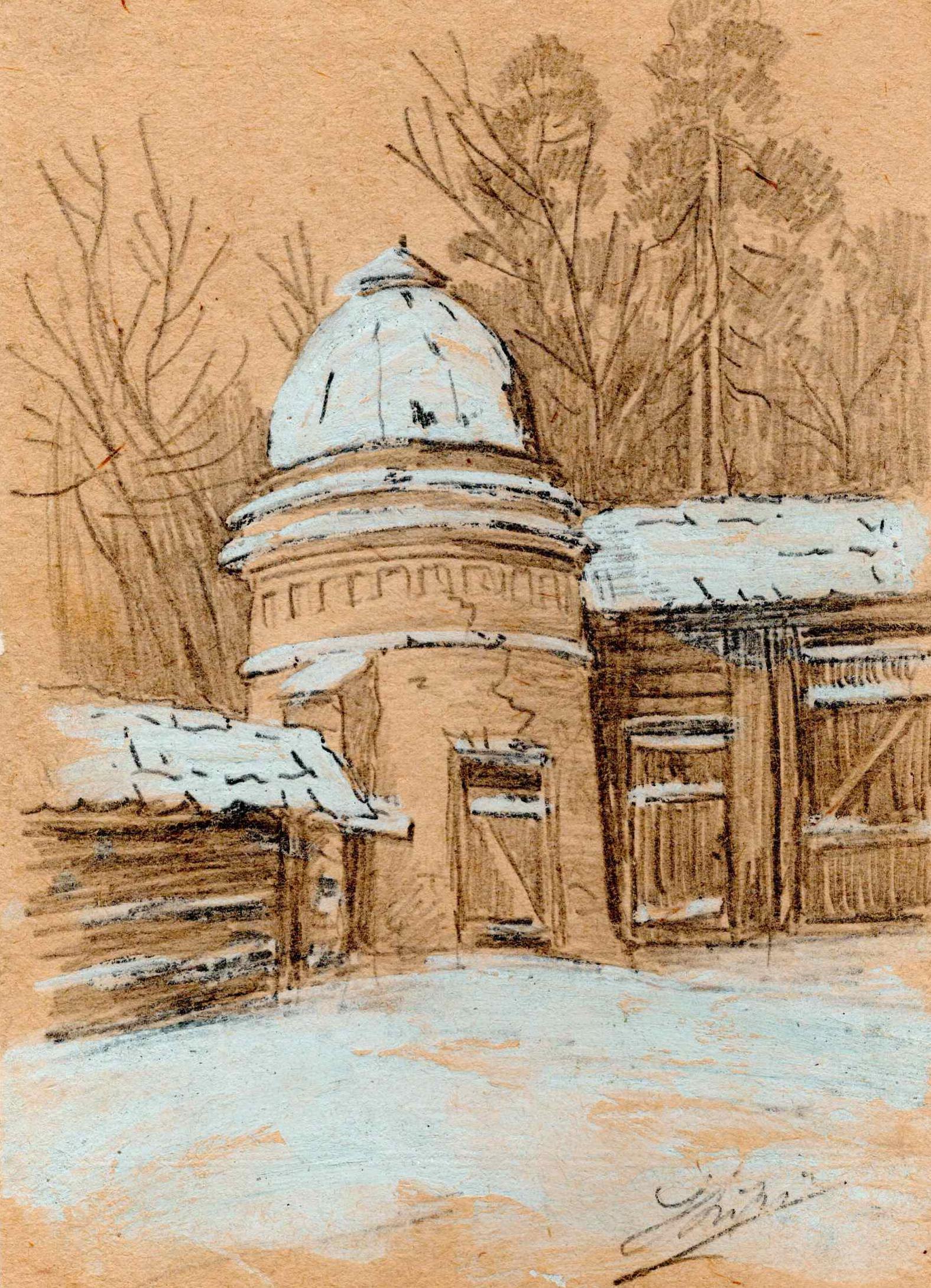 Rysunek przedstawiający zabudowania dawnego klasztoru zamienionego naobóz, widać podniszczoną, murowaną wieżyczkę zkopułą izabudowania gospodarcze, Józef Lipiński, Łagier, ołówek, tempera, 1940