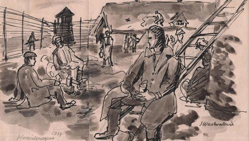 Obraz przedstawiający więźniów spożywających posiłek napowietrzu naterenie obozu. Wtle widać ogrodzenie, wieżyczkę strażniczą ibudynki. Stanisław Westwalewicz, rys. piórkiem lawowany, obóz wKozielszczyźnie, 1939