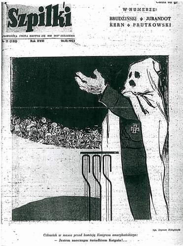 """Okładka czasopisma """"Szpilki"""" z 18.03.1952 roku - świadek w kapturze przedstawiony jako hitlerowski prowokator"""